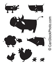 Vector art farm animal silhouettes