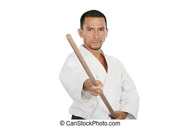 Closeup isolated portrait of martial arts man in kimono...
