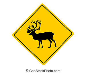 Caribou warning sign