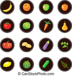 Fruits and vegetables. Set of icons.