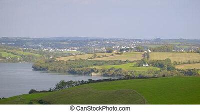 Panoramic shot of green fields - Panoramic shot of green...