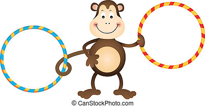Monkey with Hula Hoops - Scalable vectorial image...