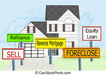 Home Debt Solutions - Home with signs advising of options...