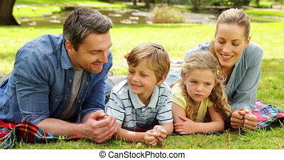 Cute family smiling at camera in the park on a sunny day
