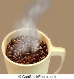Steaming Cup of Coffee Beans