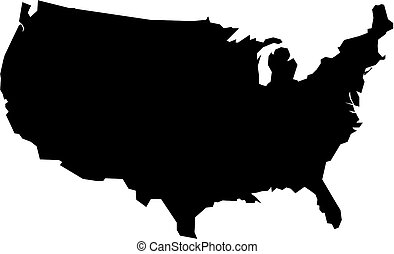 Map of USA in black - Map of USA filled with black color