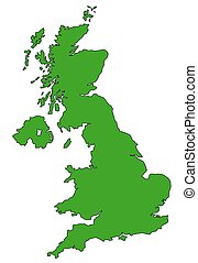 Map of UK in green - Map of UK filled with green color