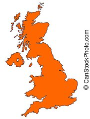 Map of UK in orange - Map of UK filled with orange color