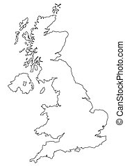 Map of UK in white - Map of UK filled with white color