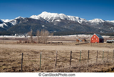 Red Barn Endures Mountain Winter Wallowa Whitman National...