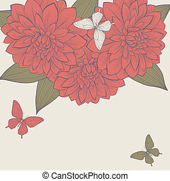 beautiful background with frame of dahlia flowers and butterflies.