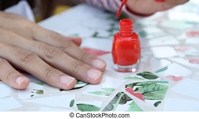 Nail polish - Stock Video Nail polish that is red is painted...