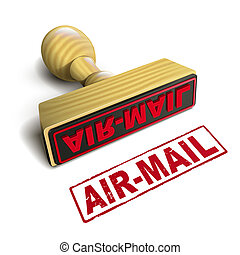 stamp air-mail with red text on white - stamp air-mail with...