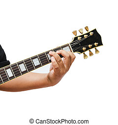 Isolated The guitarist show the C Major chord