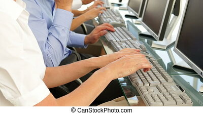 Business people typing