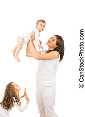 Mother having fun with kids