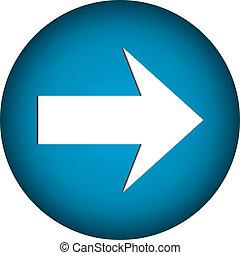 Arrow sign button on white