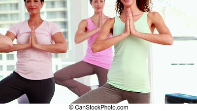 Women at a yoga class - Women at a yoga class at the gym