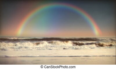 (1032) Rainbow Ocean Beach Surf Waves - Rainbow Ocean with...