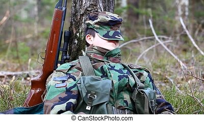 Recruit with optical rifle in the forest episode 7