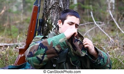 Recruit with optical rifle in the forest episode 8