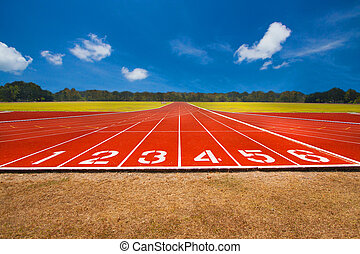Running track over blue sky and clouds, Athlete Track or...