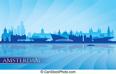 Amsterdam city skyline silhouette background, vector...