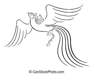 Black graceful Firebird contour isolated over white. Hand...
