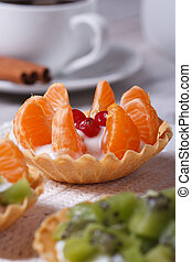 fruit tartlets with tangerine, cranberry and coffee