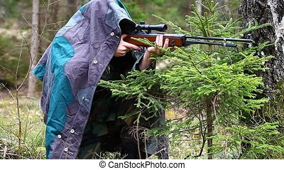 Recruit with optical rifle in the forest episode 11