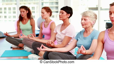 women in fitness studio doing yoga - Group of content women...
