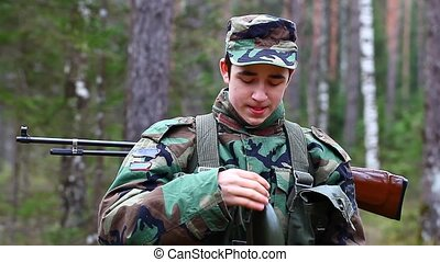 Recruit with optical rifle in the forest episode 13