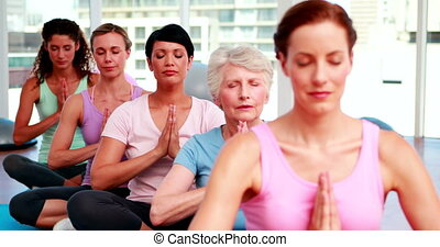 Group of peaceful women in fitness studio doing yoga at the...