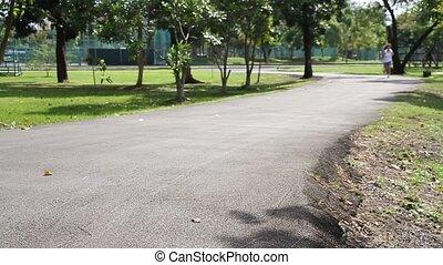 Woman runner running  in park