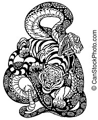 snake and tiger fighting, black and white tattoo...