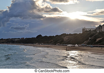 Sunset at Bournemouth beach, south England.