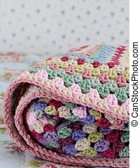 Folded Blanket - Pretty handmade crochet afghan blanket...