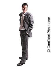 young handsome businessman standing alone isolated over...