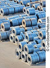 Rolls of steel sheet in harbor