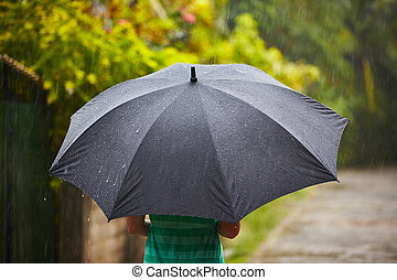 Heavy rain - Woman with black umbrella in heavy rain