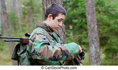 Recruit with optical rifle in the forest episode 23