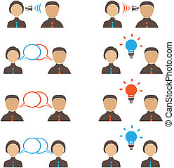 Silhouettes of People with Speech Bubbles Communication