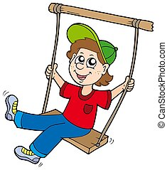 Boy on swing - isolated illustration.
