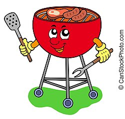 Cartoon barbeque on white background - isolated illustration...