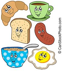 Cartoon breakfast collection - isolated illustration.