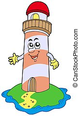 Cartoon lighthouse on white background - isolated...