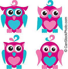 Owls - Vector illustration of cute owls, isolated on white...