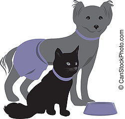 Dog and cat with bowl of pet food