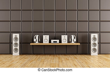 Room to listen to music with acoustic panel - rendering