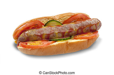 Boerewors Roll Isolated - A traditional south african...
